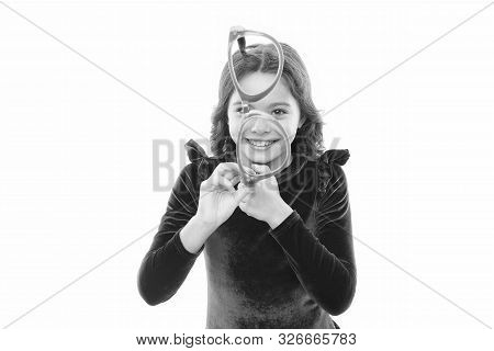 Improve Eyesight. Girl Kid Wear Big Eyeglasses Isolated White Background. Optics And Eyesight Treatm