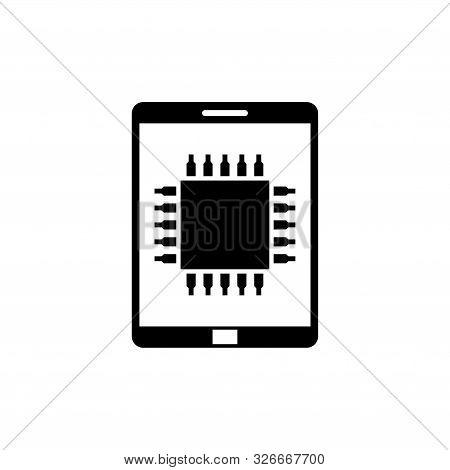 Mobile Processor, Phone Microprocessor. Flat Vector Icon Illustration. Simple Black Symbol On White