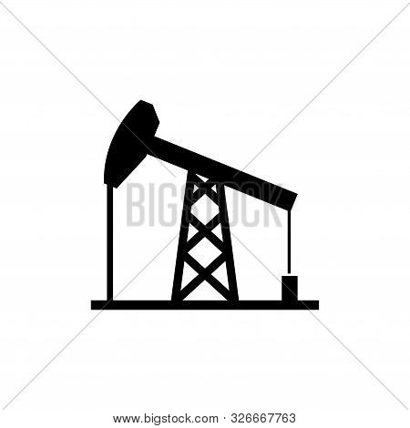 Oil Derrick, Mining Pump Tower. Flat Vector Icon Illustration. Simple Black Symbol On White Backgrou