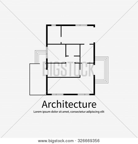 Architecture Background Template. House Plan On White Background With Place For Text. Without Furnit