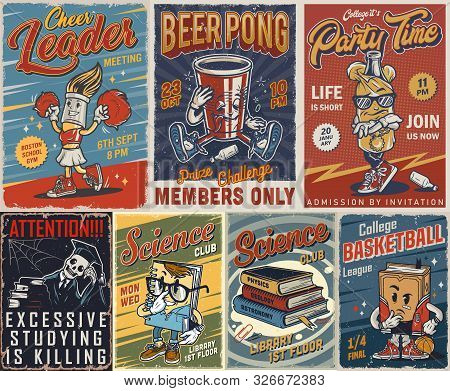 Vintage College Posters Set With Books And Cute Characters Of Cheerleader Brush Drunk Paper Cup Skel