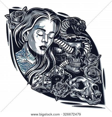 Vintage Chicano Tattoo Style Template With Pretty Woman Cat Skull Rose Flowers Dice And Snake Entwin