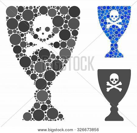 Poison Cup Mosaic For Poison Cup Icon Of Round Dots In Different Sizes And Color Tones. Vector Round