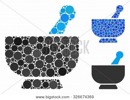 Mortar Composition For Mortar Icon Of Small Circles In Variable Sizes And Color Hues. Vector Small C
