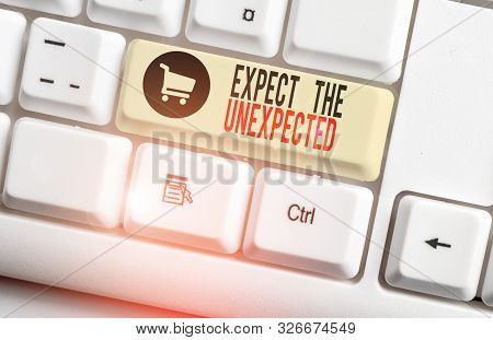 Handwriting text Expect The Unexpected. Concept meaning Anything can Happen Consider all Possible Events White pc keyboard with empty note paper above white background key copy space. poster