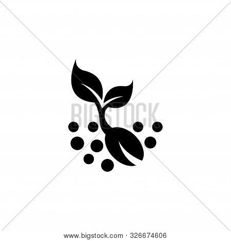 Plant Sprout, Sprouted Seed. Flat Vector Icon Illustration. Simple Black Symbol On White Background.