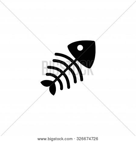 Fish Bone Skeleton. Flat Vector Icon Illustration. Simple Black Symbol On White Background. Fish Bon
