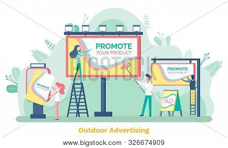 Outdoor Advertising, Promote Your Product. Man And Woman Standing On Stairs Near Billboard Or Ad Pos