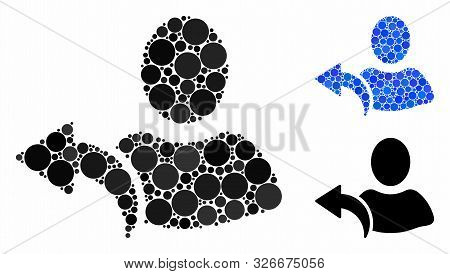 Undo Composition For Undo Icon Of Round Dots In Various Sizes And Color Hues. Vector Round Elements