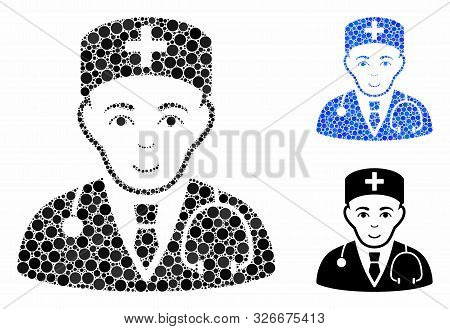 Physician Mosaic For Physician Icon Of Filled Circles In Variable Sizes And Color Tones. Vector Smal