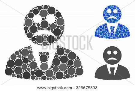 Sad Boss Composition For Sad Boss Icon Of Filled Circles In Different Sizes And Color Tints. Vector