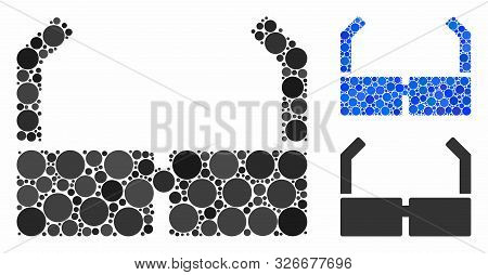 Spectacles Composition For Spectacles Icon Of Round Dots In Various Sizes And Color Tints. Vector Ro