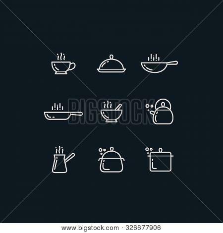 Simple Line Vector Cooking Utensils Icons Set. Pan, Saucepan, Cezve Coffee, Tea Kettle, Frying Pan,