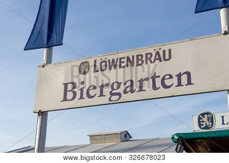 Munich, Germany - 2019 September 28: Large Sign Of The Munich Brewery L Wenbr U Outside The Beer Ten