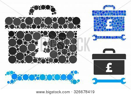 Pound Toolbox Mosaic For Pound Toolbox Icon Of Round Dots In Different Sizes And Color Tinges. Vecto