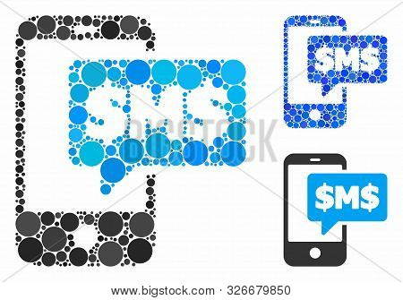 Phone Sms Mosaic For Phone Sms Icon Of Circle Elements In Various Sizes And Color Tones. Vector Smal