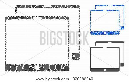 Mobile Tabs Composition For Mobile Tabs Icon Of Round Dots In Various Sizes And Shades. Vector Round