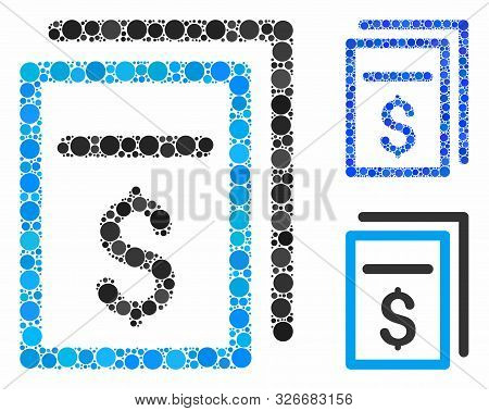 Invoices Mosaic For Invoices Icon Of Circle Elements In Different Sizes And Color Tinges. Vector Cir