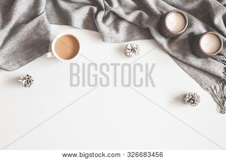 Christmas Composition. Cup Of Coffee, Scarf On Gray Background. Christmas, Winter Concept. Flat Lay,