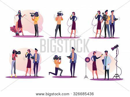 Reporters Illustration Set. Journalists And Cameraman Filming News, Holding Microphone, Using Camera