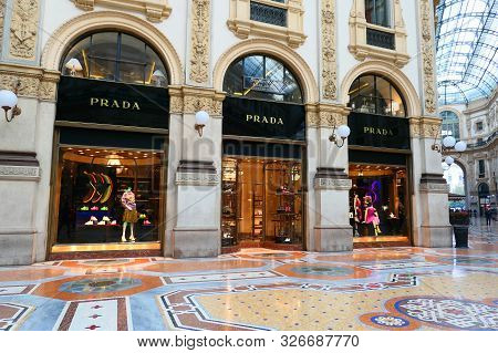 Milan, Italy - October 21, 2018 : Prada Store In Galleria Vittorio Emanuele Ii In Milan. Prada Is An