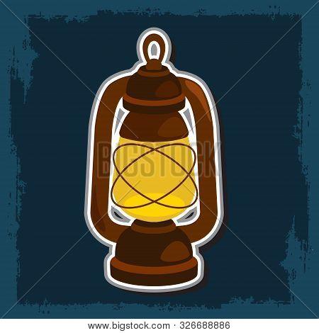 Kerosene Lamp. Vector Illustration On Dark Background.