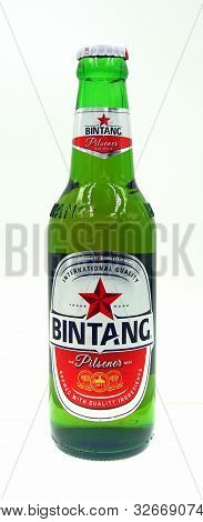 Amsterdam, The Netherland - October 9, 2019: Bottle Of Bintang Bir Pilsener, A Pale Lager Styled Bee