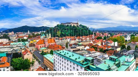 Beautiful cities of Europe - charming Ljubljana, capital of Slovenia, panoramic view with castle and old town