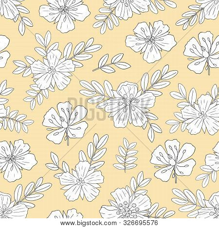 Medicinal Herbs Collection. Vector Hand Drawn Seamless Pattern With A Plant Tribulus Terrestris On A