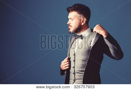poster of businessman with beard in tie. mature illusionist. Bride groom ready for wedding. esthete. stylish art director. business in modern life. bearded man in formal tuxedo suit. Perfection in every detail
