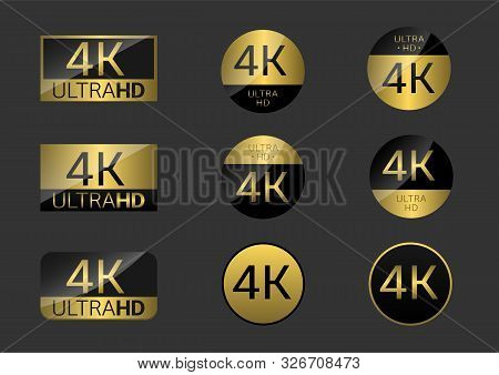 Golden 4k Badge Icon Set. 4k Ultra Hd Icons. 4k Uhd Tv Symbol Of High Definition Monitor Display Res