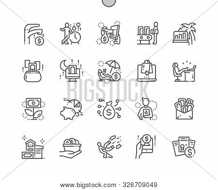Passive Income Well-crafted Pixel Perfect Vector Thin Line Icons 30 2x Grid For Web Graphics And App