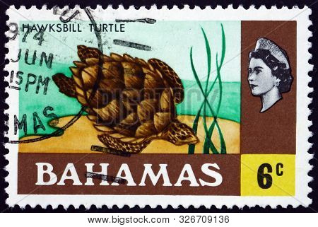 Bahamas - Circa 1971: A Stamp Printed In Bahamas Shows Hawksbill Turtle (eretmochelys Imbricata), Is