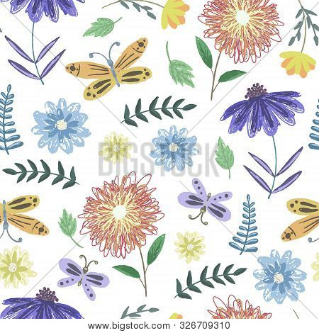 Cute Tender Sketchy Seamless Pattern With Childish Color Flowers And Butterflies. Colorful Naive Flo