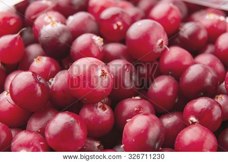 Cranberry /cranberries Texture / Fresh And Tasty Cranberry. Close Up