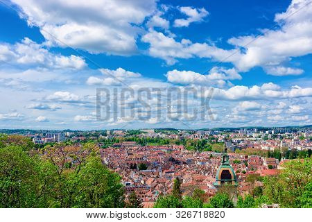 Cityscape With Cathedral From Citadel Of Besancon In Bourgogne