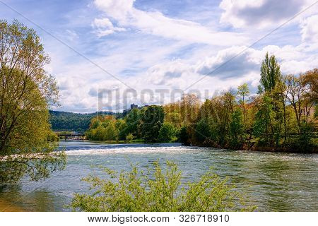 River Doubs With Citadel Of Besancon At Bourgogne