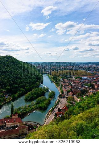 Landscape From Citadel In Besancon And River Doubs At Bourgogne