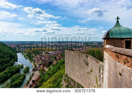 Citadel In Besancon And River Doubs At Bourgogne