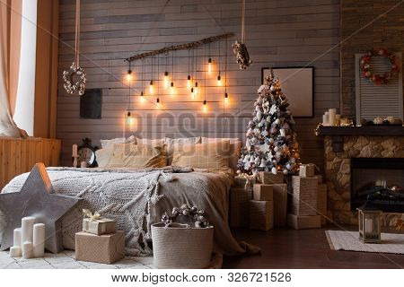 Cosy Bedroom With Eco Decor. Wood And Nature Concept In Interior Of Room. Scandinavian Interior, Rea