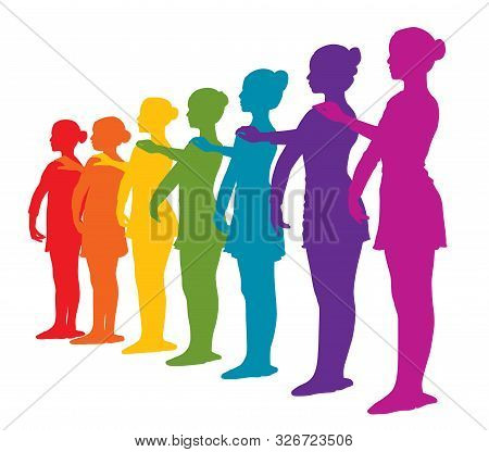 Rainbow Colored Row Of Seven Ballerinas Girls. Rainbow Colors Silhouettes Of Seven Ballerinas Standi