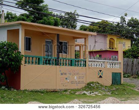 Ochos Rios, Saint Ann, Jamaica - 22nd June 2017 : View Of A Typical Jamaican Little Restaurant Stop