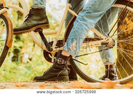 Shoes For Active Lifestyle. Romantic Couple On Date. Date And Love. Couple In Love Ride Bicycle In P