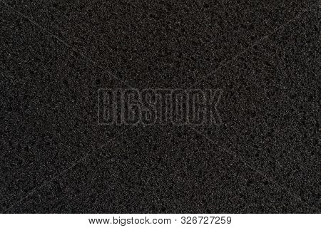 Abstract Dark Black Foam Rubber Texture, Macro View, Protection Textured Surfaces