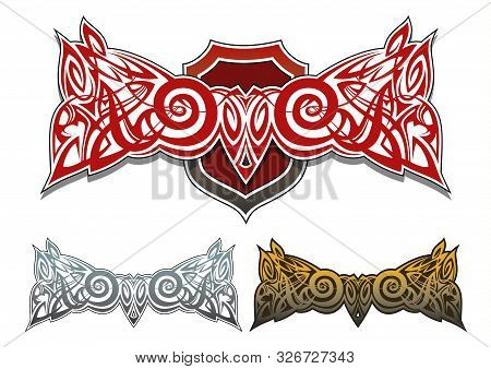 Fabled Whimsical Pattern With Shield, In 3 Color Variants, Vector Illustration