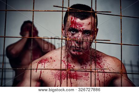 Prison For Monster. Psycho Mad Man. Murderer Mythical Creature. Halloween Concept. Scary Monster Jus