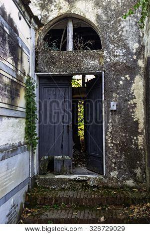 Monterosso Al Mare, Ligunia, Italy - September 21: Entrance To Old Cemetery On September 21, 2019 In