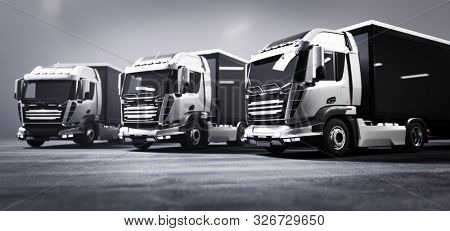 Fleet of trucks with cargo trailers in warehouse. Transport, shipping industry. 3D illustration