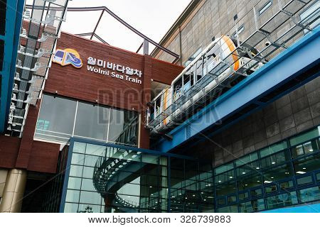 Incheon South Korea , 7 October 2019 : Wolmi Sea Train Monorail Leaving Station On Wolmido Island In