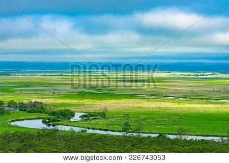 Kushiro Shitsugen National Park In Hokkaido In Summer Day, View From Hosooka Observation Deck, The L